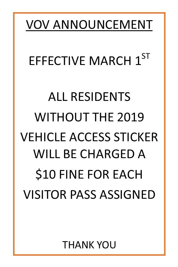 VOV Access Fine Notice